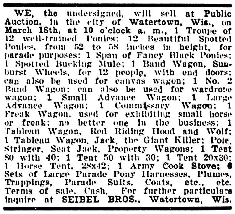 Seibel bros. Circus for sale in the Billboard, March 12, 1904, page 22